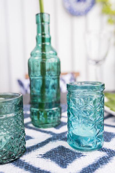 Deko Trio Flaschenvase in Smaragd und türkis   Vintagewonderland