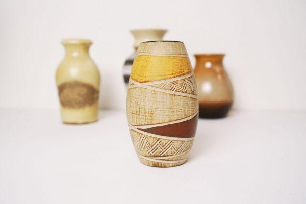 Vintage Vase mit Sgrafitto Design als Deko für dein gemütliches Zuhause im Boho Ethno Stil