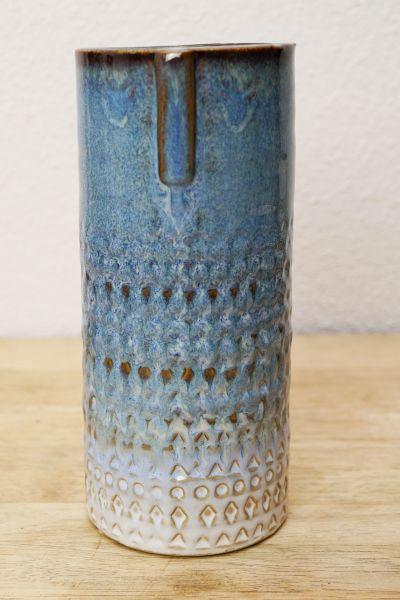 Steingut Vase mit blauer Glasur