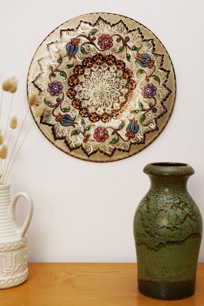 Wandteller aus Kupfer mit orientalischen Verzierungen & schönen Farben als Wanddeko
