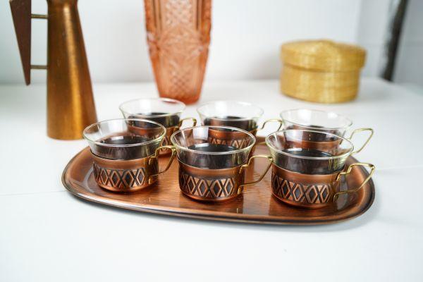 Vintage Kupfer Teegläser Set im Ethno Look aus den 60ern