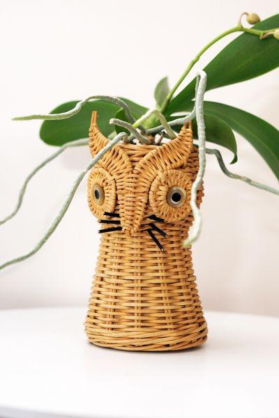 Eulen Pflanztopf aus Korb für dein gemütliches Zuhause im Boho Stil
