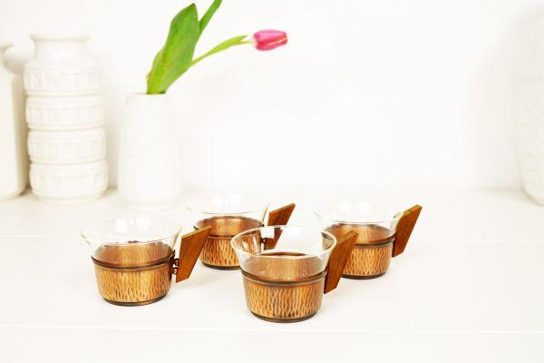 Teegläser Set aus Kupfer Vintage
