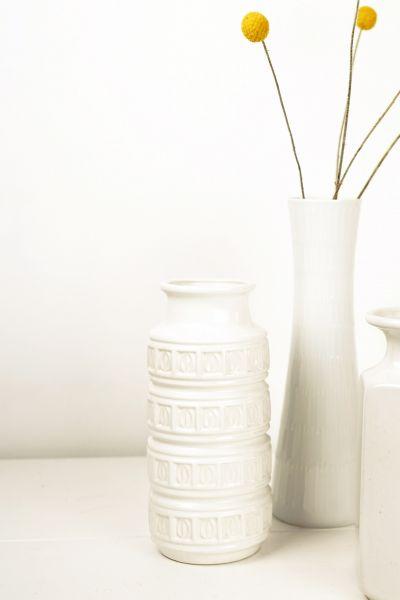 Scheurich vintage Vase in weiß mit inkamuster als Dekoration