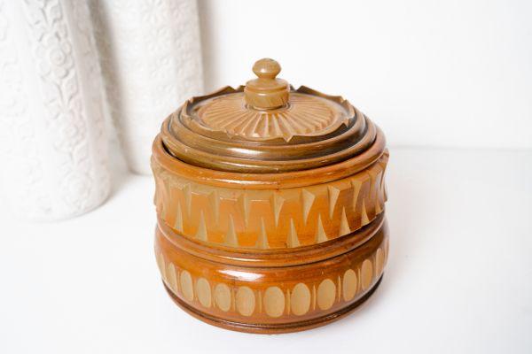 Vintage Dose aus Holz mit Deckel als Deko & Aufbewahrung für dein Zuhause im Boho Ethno Vintage Stil