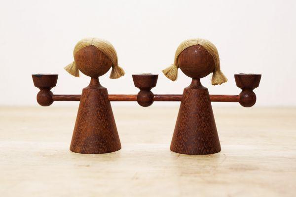 Kerzenleuchter Zwillinge Vintage Holz als Deko