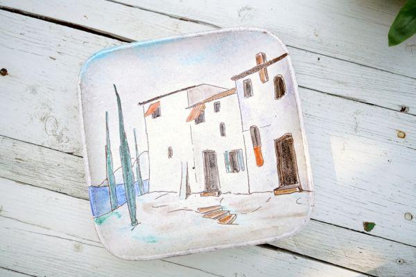 Ein wunderschöner mediteraner Wandteller von Herta Huber-Roethe Serie GARDA aus den 50er Jahren als Dekoration für dein Zuhause im Boho Look.