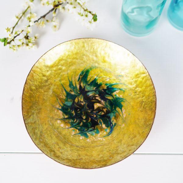 Kupferschale mit grün-blauer Glasur für das gemütliche Zuhause