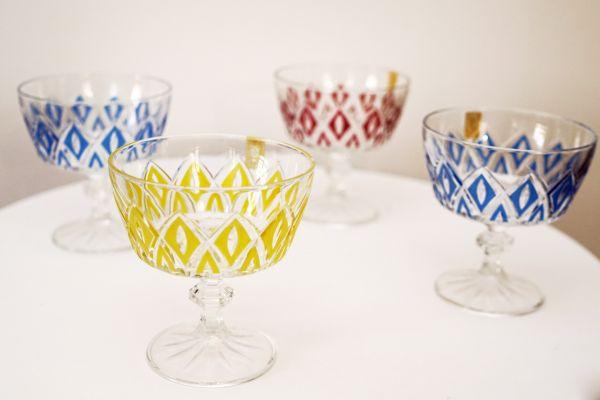 Vintage Gläser Kristall mit buntem Design