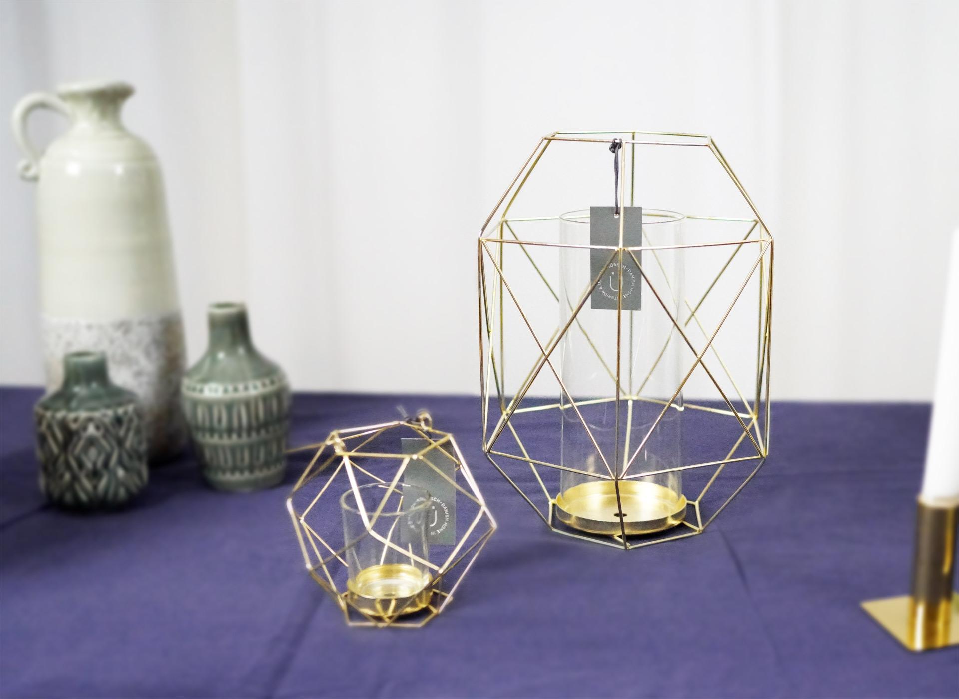 goldfarbene laterne aus metall und glas von h bsch interior vintagewonderland. Black Bedroom Furniture Sets. Home Design Ideas