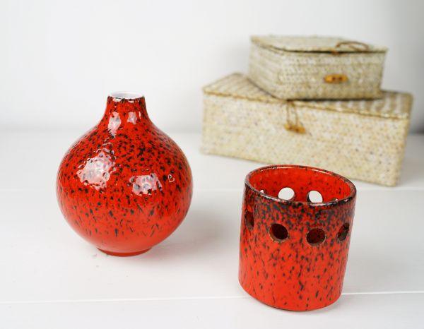 Fat Lava Set Wächtersbach Vase + Windlicht