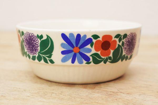Vintage Schale mit Blumendekor von Vera aus den 60er Jahren