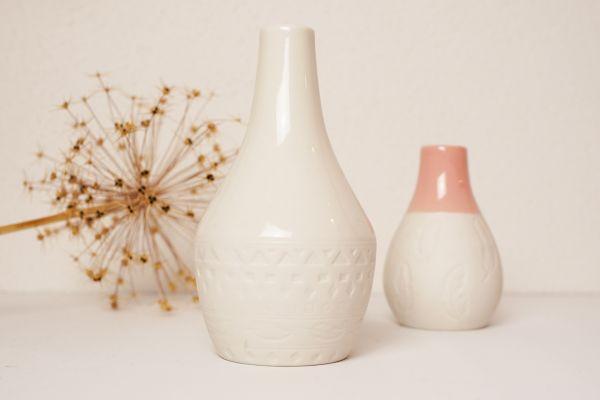 Vasen Set weiße Vasen mit Ethno Muster als Deko für dein gemütliches Zuhause