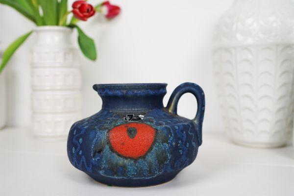 Vintage Vase Falt Lava in Blau für dein Zuahuse im Vintage Stil