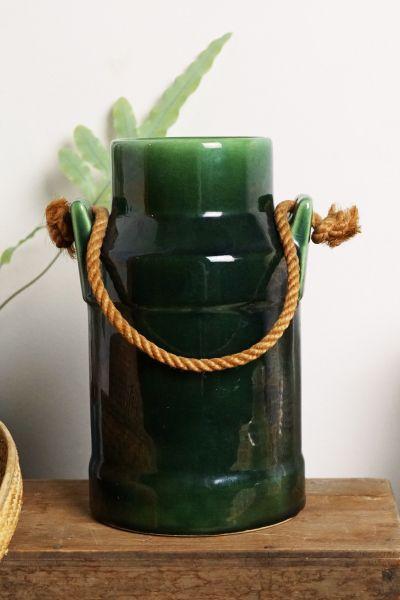 Grüne Vintage Vase mit Kordel als Deko