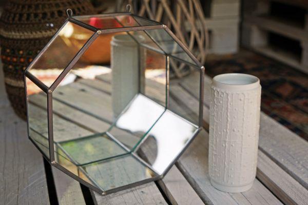 Vintage Spiegel Regal Octagon Midcentury Modern als Deko