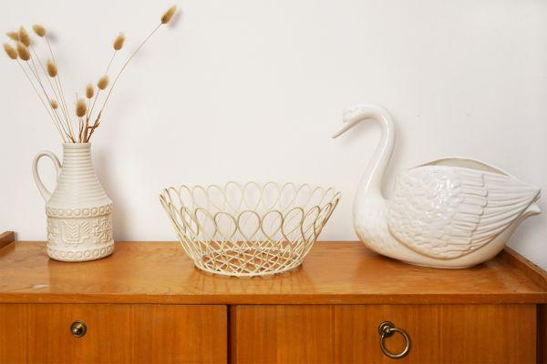 Vintage Metall Korb als Obstkorb für deinen schön gedeckten Tisch im Vintage Stil