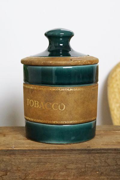 Keramik Dose Tobacco mit Leder