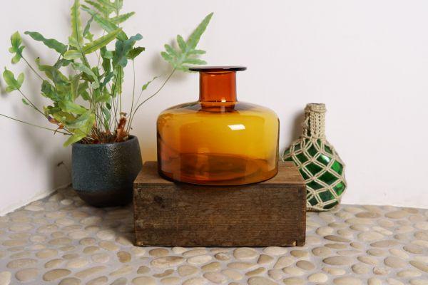 Vintage Vase bernsteinfarben rund als Deko