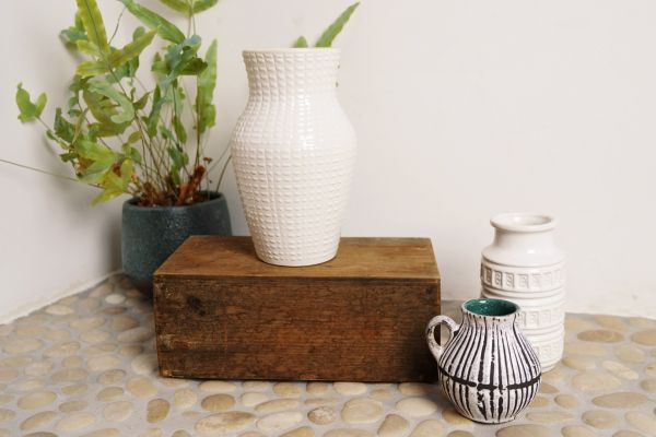 Weiße vintage Scheurich Vase passend zu mid-century West Germany