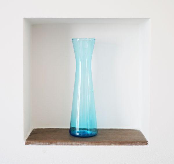 Vintage Glasvase in hellem Petrol aus den 50er Jahren