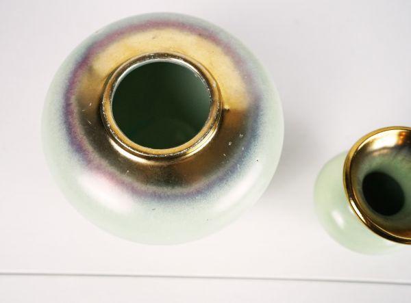 Vintage Vase von Jasba Keramik in mingrünen Farbverläufen als Deko für das Wohnzimmer im Boho vintage Look