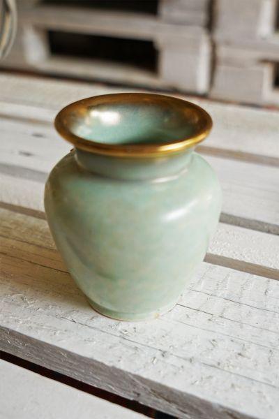 Vintage Vasen Set von Jasba Keramik in mingrünen Farbverläufen als Deko für das Wohnzimmer im Boho vintage Look