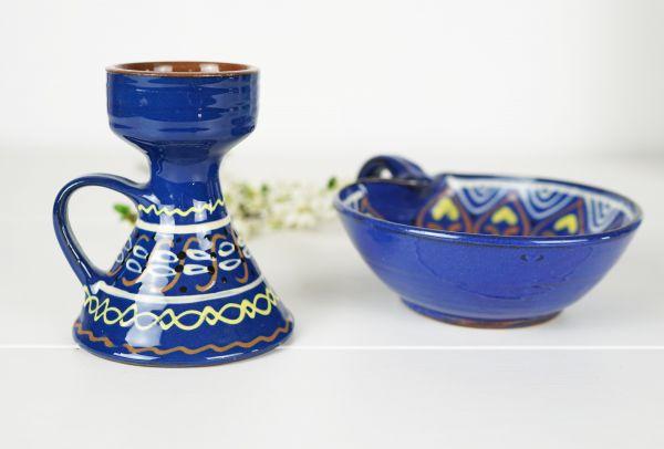 Vintage Schale und Kerzenleuchter aus Keramik als Deko für dein gemütliches Wohnzimmer