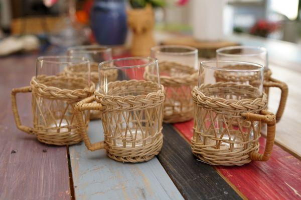 Teegläser Set Henkelkörbchen natur