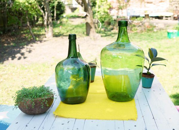Vintage Bauchflasche In Grün Vintagewonderland