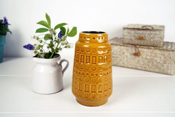 Scheurich Vase Inka Muster ockergelb
