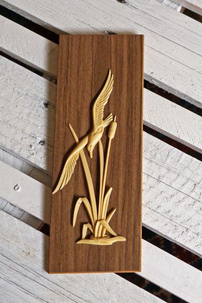 Wandbild Relief Möwe aus Holz und Kunststoff 60er Jahre als Deko für dein gemütliches Zuhause